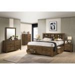 5 PC Queen Storage Bedroom Set - Antique Oak