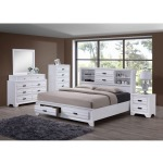 4 PC Queen Storage Bedroom Set - White