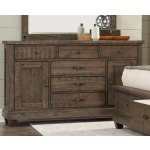 6 Drawer 2 Door Dresser - Brown Pine