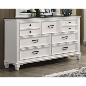 7 Drawer Dresser - White / Grey