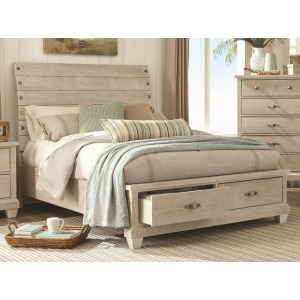 Queen Sleigh Bed - White Wash