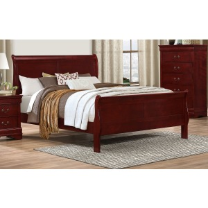 Queen Sleigh Bed - Martini Cherry