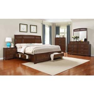 4 PC King Bedroom Set - Dark Cherry