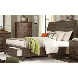 King Sleigh Bed w/Storage - Brown Pine