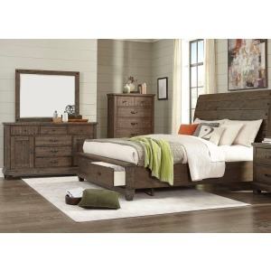 3 PC King Sleigh Bedroom Set - Brown Pine