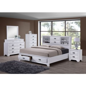 4 PC Queen Storage Bedroom Set - White