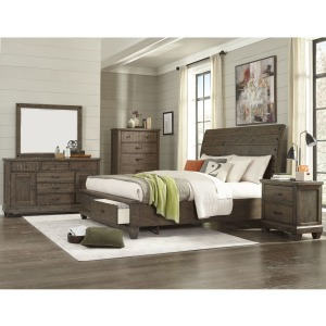 4 PC King Sleigh Bedroom Set - Brown Pine