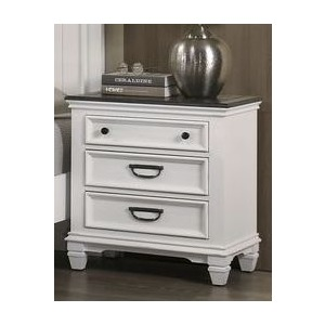 3 Drawer Nightstand - White / Grey
