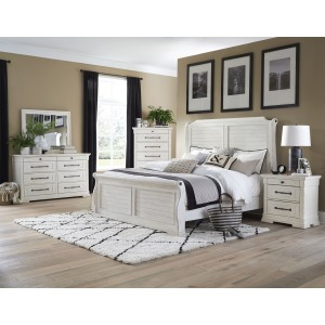 4 PC King Sleigh Bedroom Set - Antique White