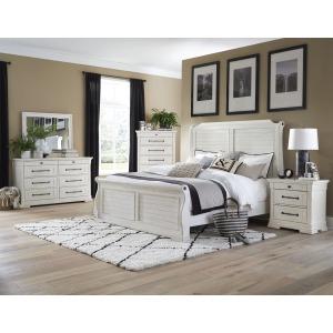4 PC King Sleigh Bedroom Set - Antique White