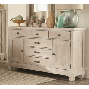 6 Drawer 2 Door Dresser - White Wash