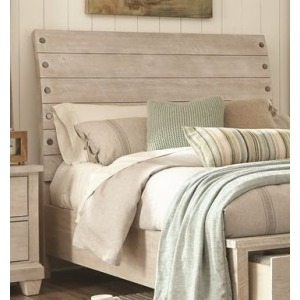 Queen Sleigh Headboard - White Wash
