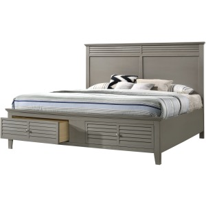 Queen Storage Bed with Rails - Grey