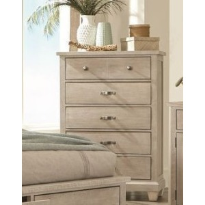 5 Drawer Chest - White Wash