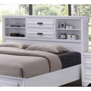 Queen Storage Headboard - White