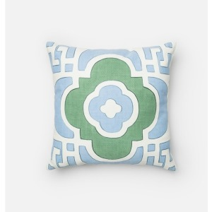 "P0218 LT. BLUE / GREEN (18"" X 18\"" PILLOW)"