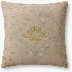 "Green Beige 22"" x 22"" Pillow w/Down Insert"