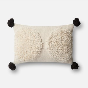 "Ivory Black Pillow (13"" X 21"")"
