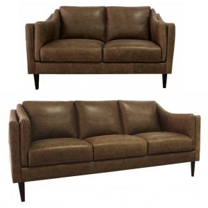 Ava Leather Sofa & Loveseat Set  - Bomber Tan