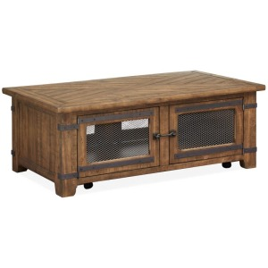 Chesterfield Lift Top Storage Cocktail Table w/Casters