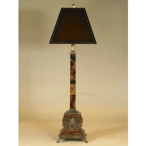 Penshell Inlaid Candlestick Lamp, Dark Snakeskin Stone Base, Brass Mounts