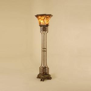 Tortoise Finish Iron Torchere Floor Lamp
