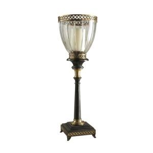 Decorative Cut Glass Globe Candleholder, Ebonized Stand, Antique Brass Accents