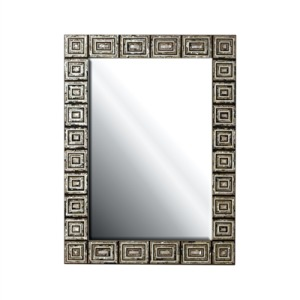 Inlaid Various Penshells and Mother-of-Pearl Mirror, Beveled Glass