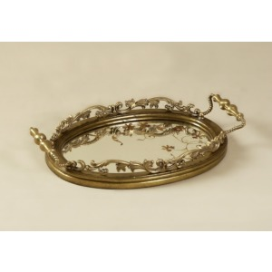 Reverse Painted Mirror Tray with Antique Brass Accents
