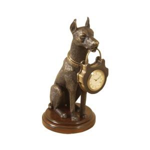 Dark Bronze Finished Cast Brass Miniature Clock, Doberman Pinscher Motif