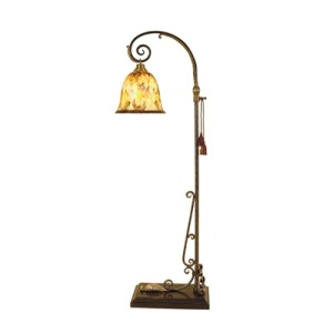 Scrolled Black Iron Floor Lamp with Finely Cast Brass Mounts, Penshell Shade