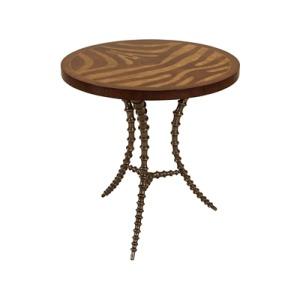Light Tone Zebra Marquetry Motif Side Table