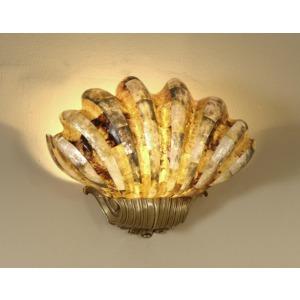 Black Lip and Tiger Penshell Inlaid Fiberglass Shell Wall Light with Antique Brass