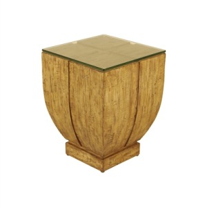 Natural Finished Occasional Table with Glass Top