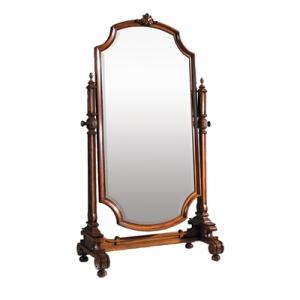 Aged Regency Finished Cheval Mirror Frame, Beveled Mirror