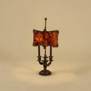 Dark Bronze Finished Brass Candelabra Lamp, Waxstone Base, Brown Penshell Shade