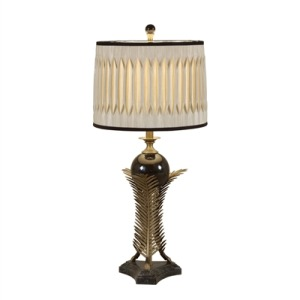 Antique Brass Finished Leaf Table Lamp with Black Penshell Accents, Silk Shade