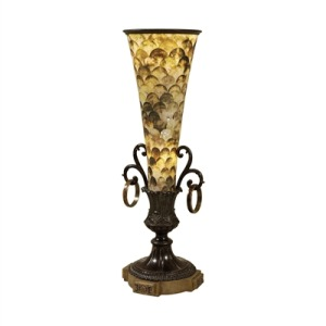 Dark Bronze and Antique Brass Tabletop Torchere with Black Lipshell Inlaid Shade