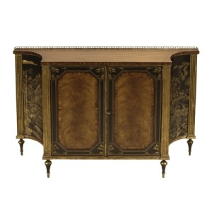 Rosewood Chiffonier with Antique Gold Gilding and Black Chinoiserie Motif