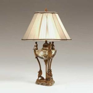 Lipshell Inlaid Neoclassic Urn Lamp on Tripod Base, Cast Antique Patina Brass Mounts