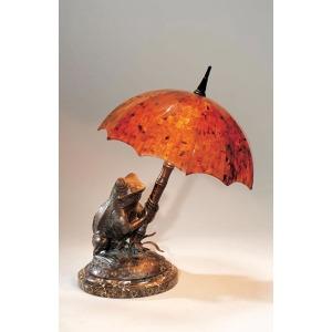 Verdigris Patina Brass Frog Lamp, Young Penshell Inlaid Umbrella Shade, Stone Base