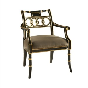 Rubbed Black Lacquer Finished Armchair
