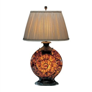 Translucent Penshell and Verdigris Patina Brass Snail Lamp, Hand Sewn Shade