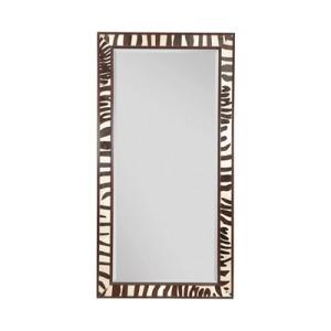 Ebony Finished and Zebra Leather Inlay Mirror, Beveled Glass