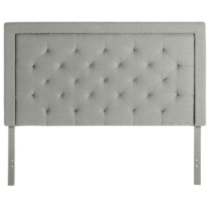Rectangle Diamond Tufted Queen Upholstered Headboard in Stone