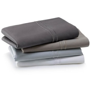 Woven Supima Cotton Pillowcase Set, Queen, Smoke
