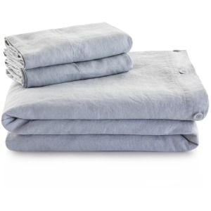 French Linen Duvet Set King White