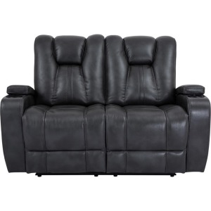 Gray Bolero Power Double-Reclining Loveseat w/Power Headrests, Cup Holders, & Storage Arms
