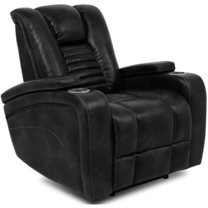 Black Power Recliner w/Power Headrest, Cup Holder & Storage Arms