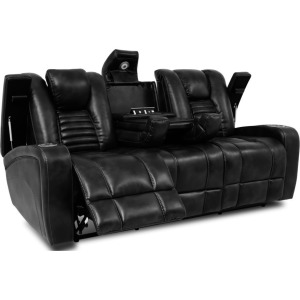 Black Double-Reclining Sofa w/Power Headrests, Drop-Down Table, Cup Holders, & Storage Arms